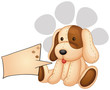 A cute dog with an empty rectangular template
