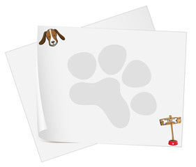 Empty paper templates with a head of a dog