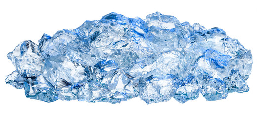 Crushed ice cubes isolated on white background