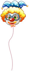 A clown balloon with an eyeglass