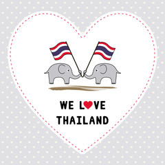 Two elephants hold Thai flag3