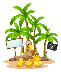 A duck and her ducklings near the signboard under the tree