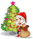 Santa Claus near the christmas tree