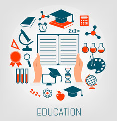 Flat design concept icons for education. E-learning concept. Vec