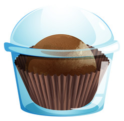 A cupcake container with a chocolate flavored cupcake