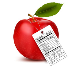 An apple with a nutrition facts label. Vector