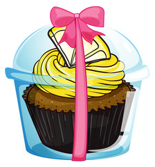 A cupcake with a yellow icing