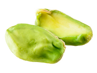 Peeled pistachio isolated on white background