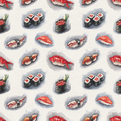 Watercolor sushi pattern