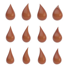 Set of twelve liquid drops isolated