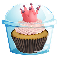 A cupcake with a crown inside the disposable container