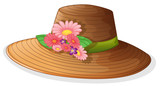 Fototapety A brown hat with floral decor