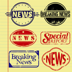 News Themed Rubber Stamps