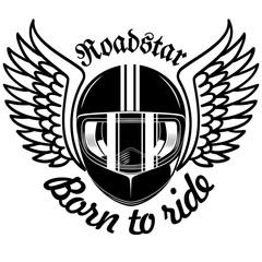 helmet and wings in black