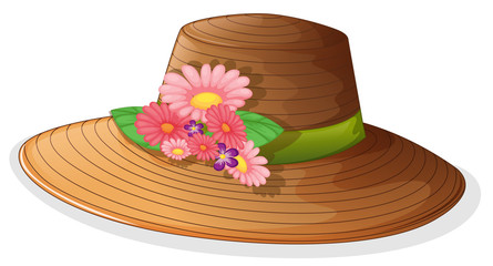 A brown hat with floral decor