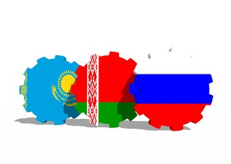 Eurasian Economic Union members flags on gears