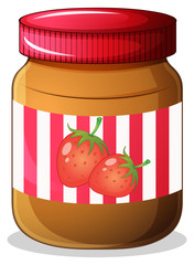 A bottle of strawberry jam