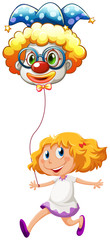 A happy little lady with a clown balloon