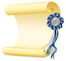 An empty paper with a ribbon