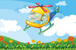 A helicopter flying with kids