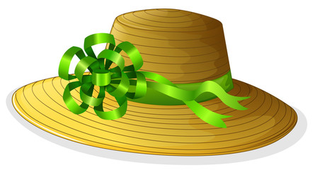 A fashionable hat with a green ribbon