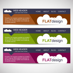 Web header in flat design style
