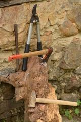 herramientos y utensilios del trabajo en el campo