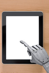 Robot hand using touchscreen tablet blank screen.