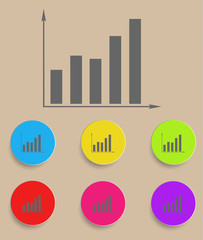 graph icon with color variations, vector