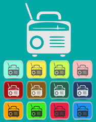 Retro Radio icon Illustration with Color Variations (Vector)