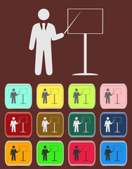people - man, person with a pointer and board icon vector