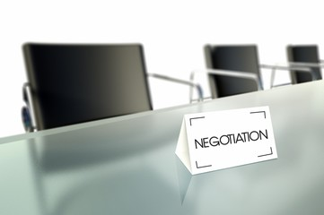 Negotiation, business table card in office