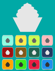 Cake sign icon. Round colourful 12 buttons.