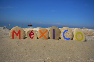 Mexico, souvenir on multicolored stone letters
