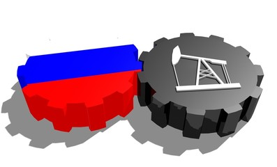 russia national flag on gear and 3d derrick model near