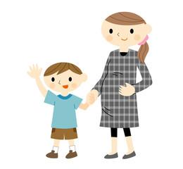 妊婦と歩く男の子