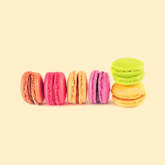 colorful macarons, vintage background