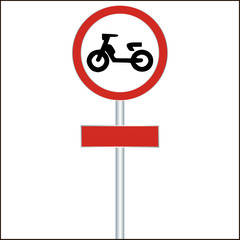 traffic sign forbidden entrance moped - vector illustration