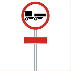 a ban on driving road sign for trucks with a trailer