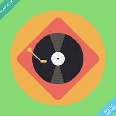 Vector turntable player icon - vector illustration. Flat design