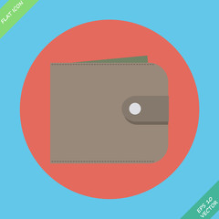 Wallet with money - vector illustration. Flat design element