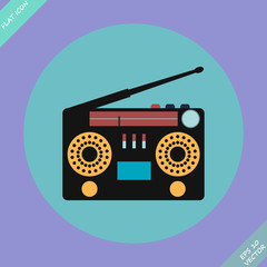 Retro Stereo Radio Cassette Recorder Vector  illustration.