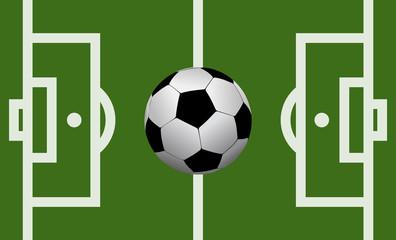 Vector football field illustration with a soccer ball