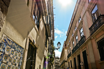 Small alley in Bairro Alto quarter, Lisbon Portugal
