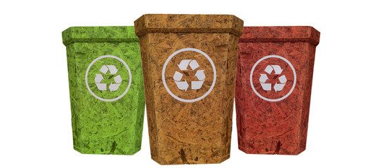 red yellow green recycle bin from cork wood texture  on isolate