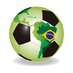 World soccer ball with Brazilian flag