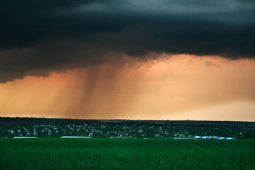 Storm cloud with rain at sunset, above the village