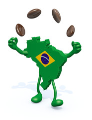 brasilian map with arms, legs does the juggler with coffee beans