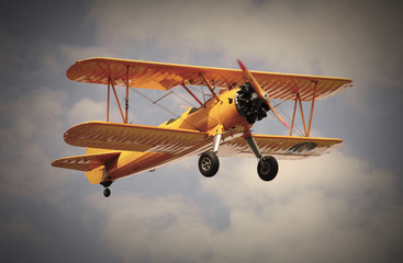 Retro style picture of the biplane.