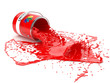 Splash of red paint in can